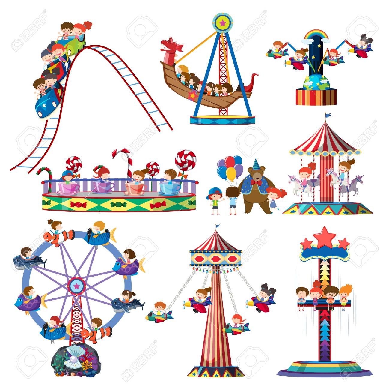 A set of theme park rides illustration - 104709684