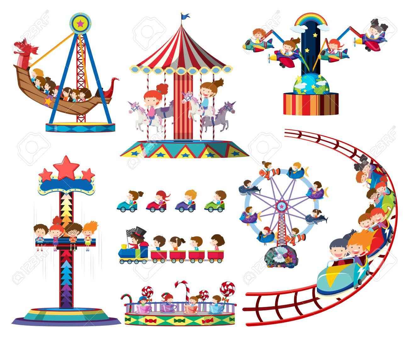A set of theme park rides illustration - 105614438