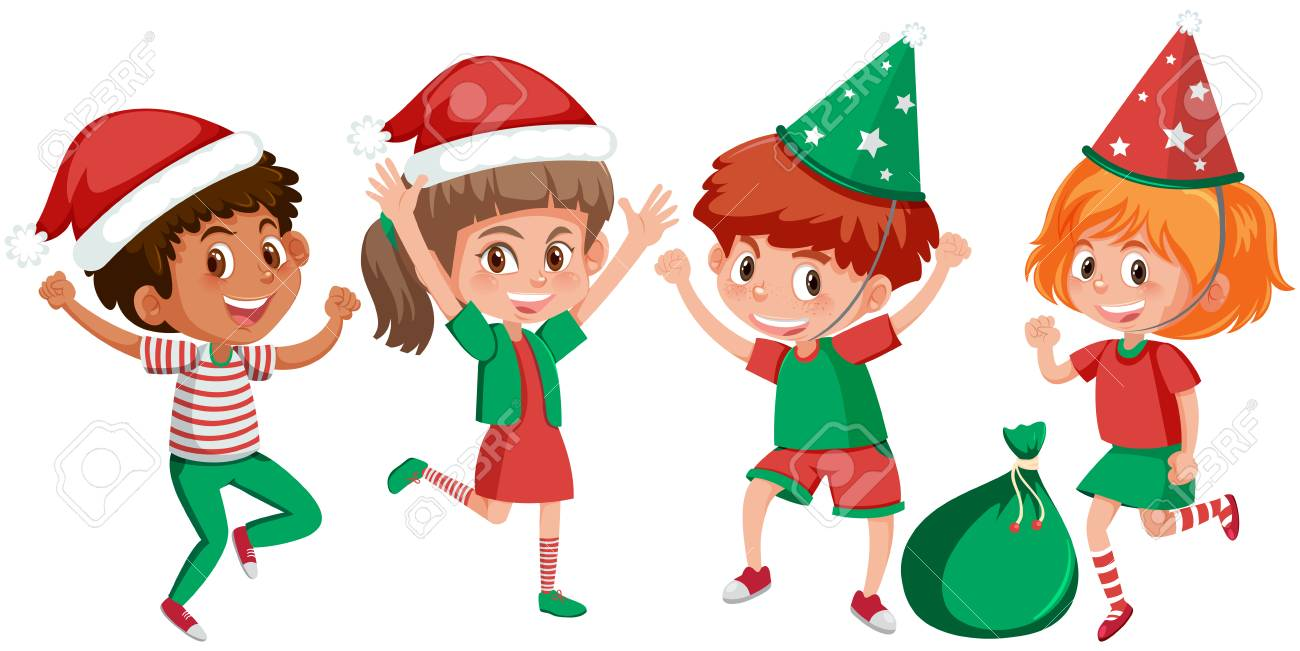 Set Of Happy Children Christmas Outfits Illustration Royalty Free ...
