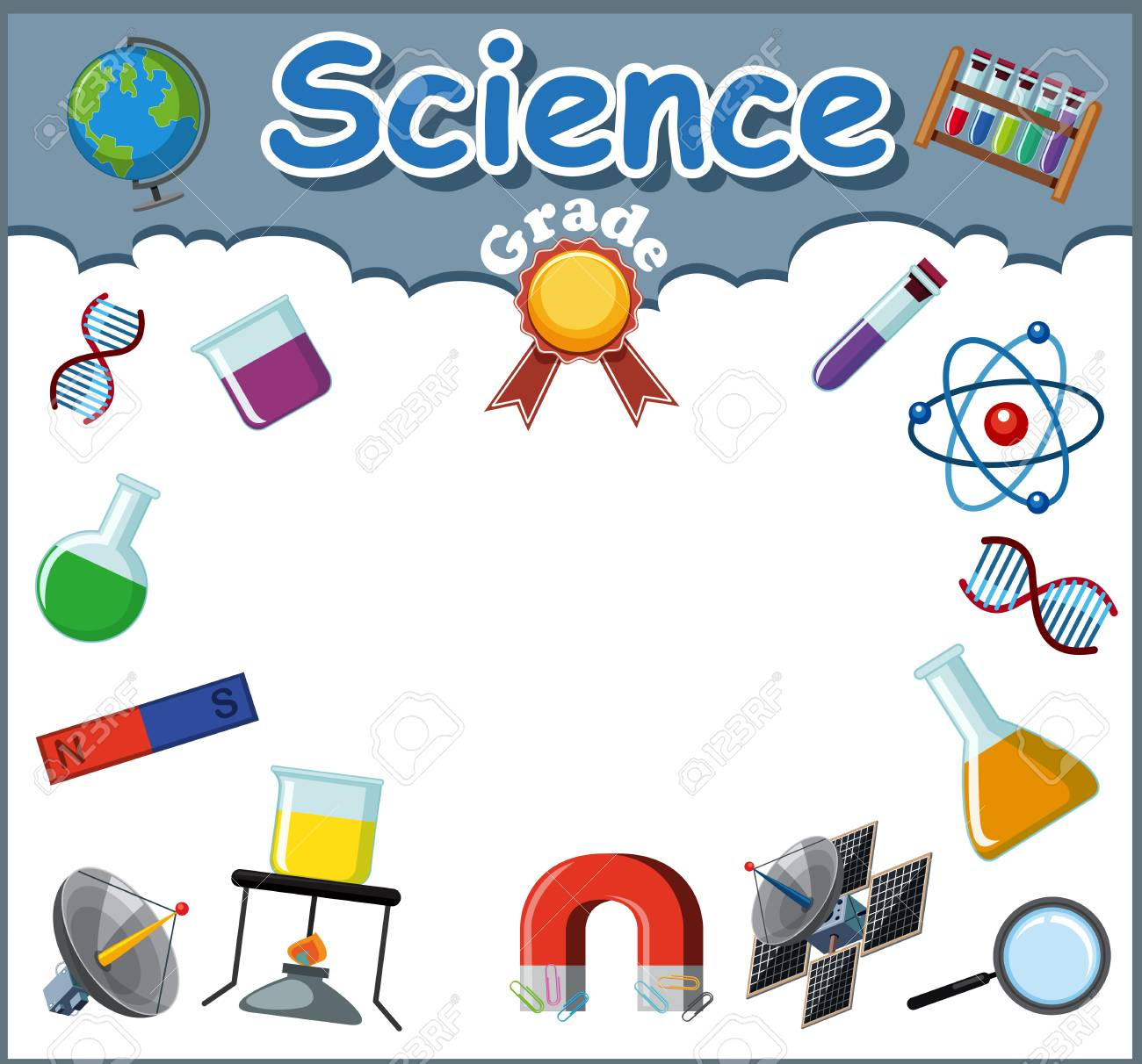 Science Objects On Certificate Template Illustration Royalty Free