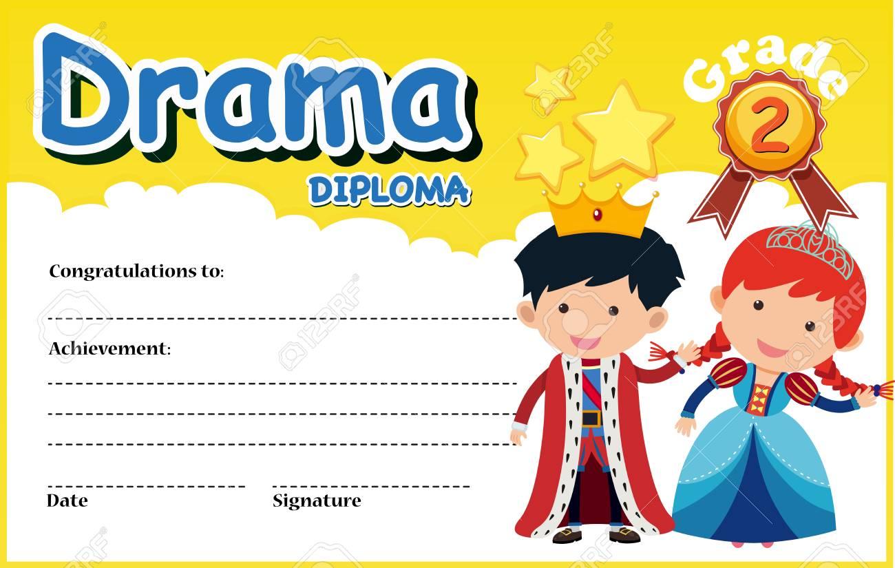 Drama Diploma Certificate Template Illustration Lizenzfrei Nutzbare