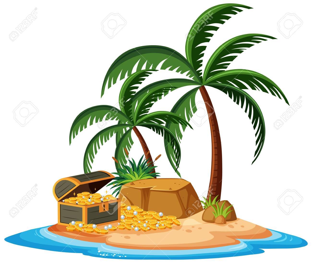 A treasure island on white background illustration - 123688066