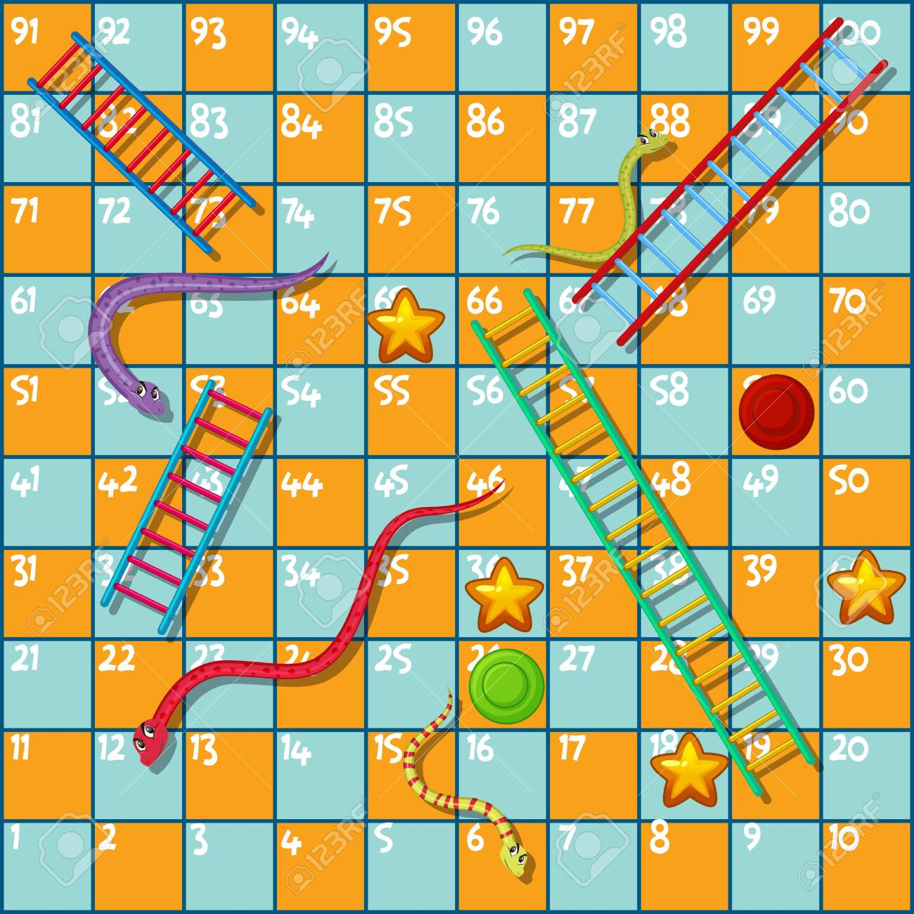 Boardgame Design Template With Snakes And Ladder Illustration Royalty Free Cliparts Vectors And Stock Illustration Image 132644444