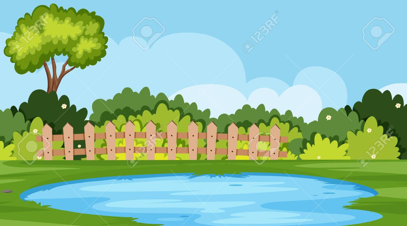 Landscape Background Design Of Park With Pond And Trees Illustration Royalty Free Cliparts Vectors And Stock Illustration Image 133797696