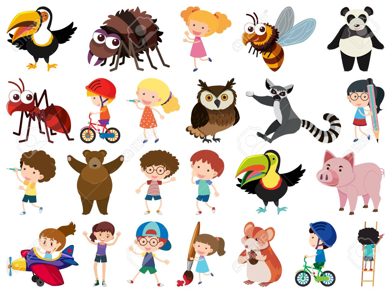 Set of isolated objects theme kids and animals illustration - 137480021
