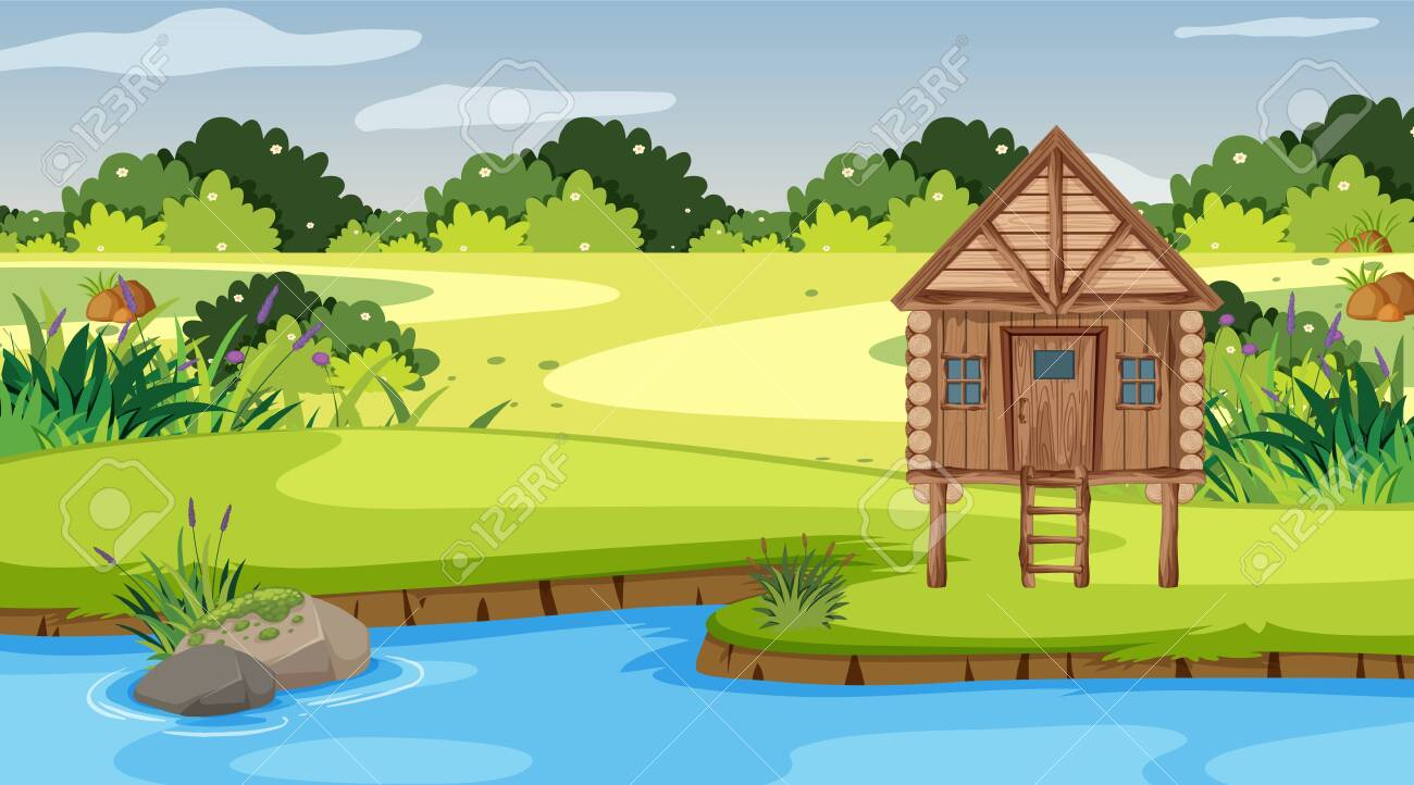 Scene with wooden cottage in the field illustration - 139347771