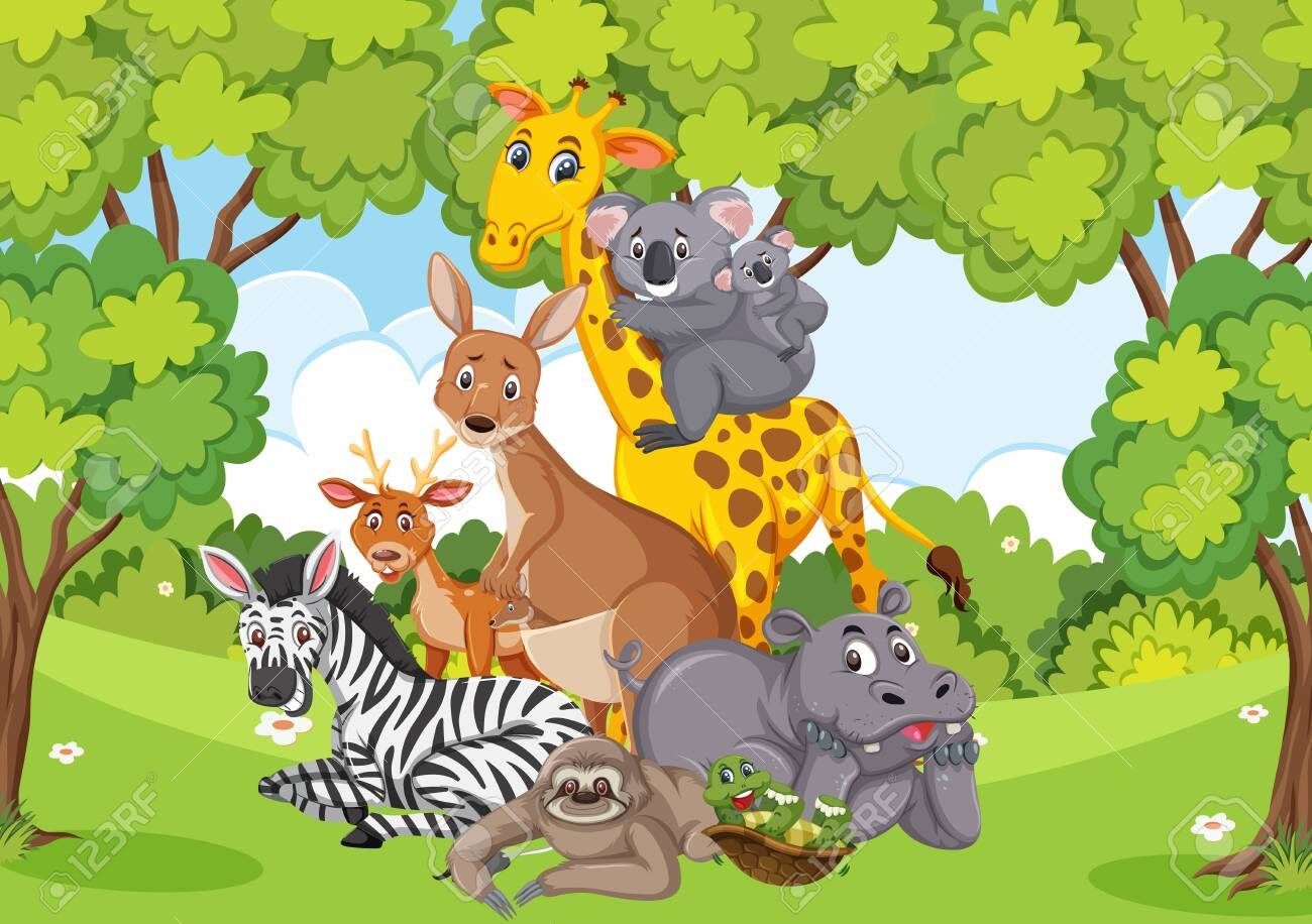 Scene with many wild animals in the park illustration - 140431287