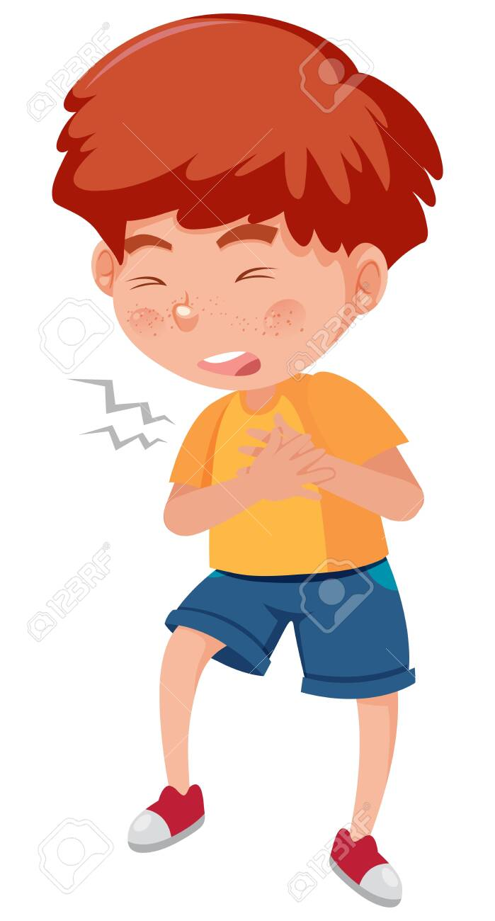 Sick boy with chest pain on white background illustration - 140429042
