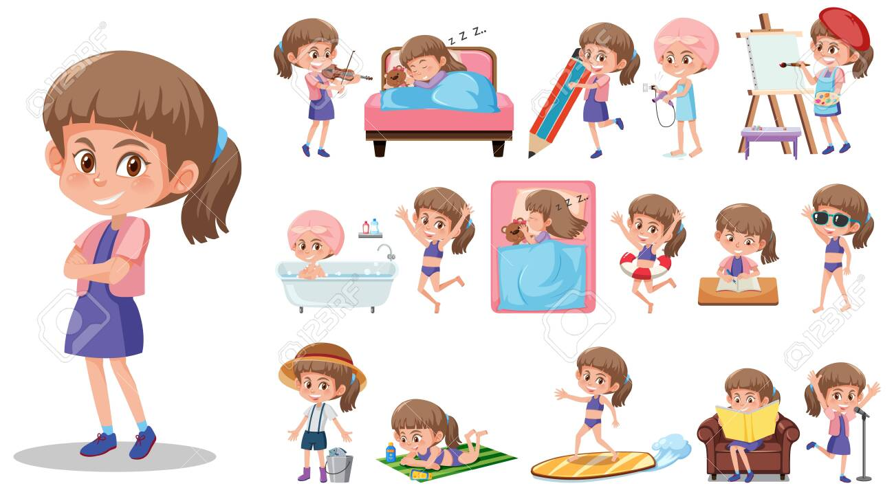 Set of kid character with different expressions on white background illustration - 141348171