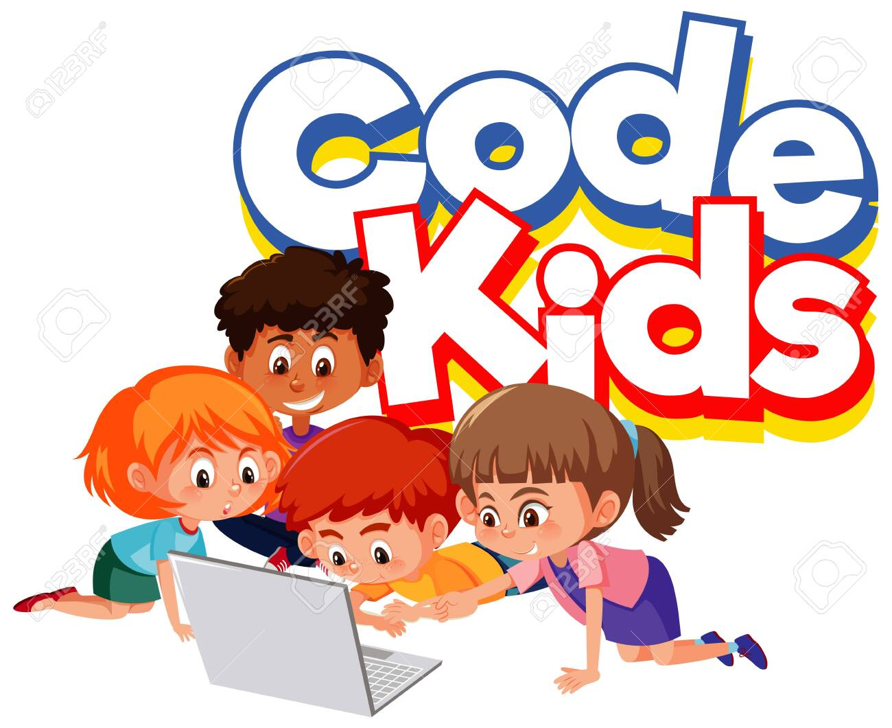 Font design for word code kids with children working on computer illustration - 143022439