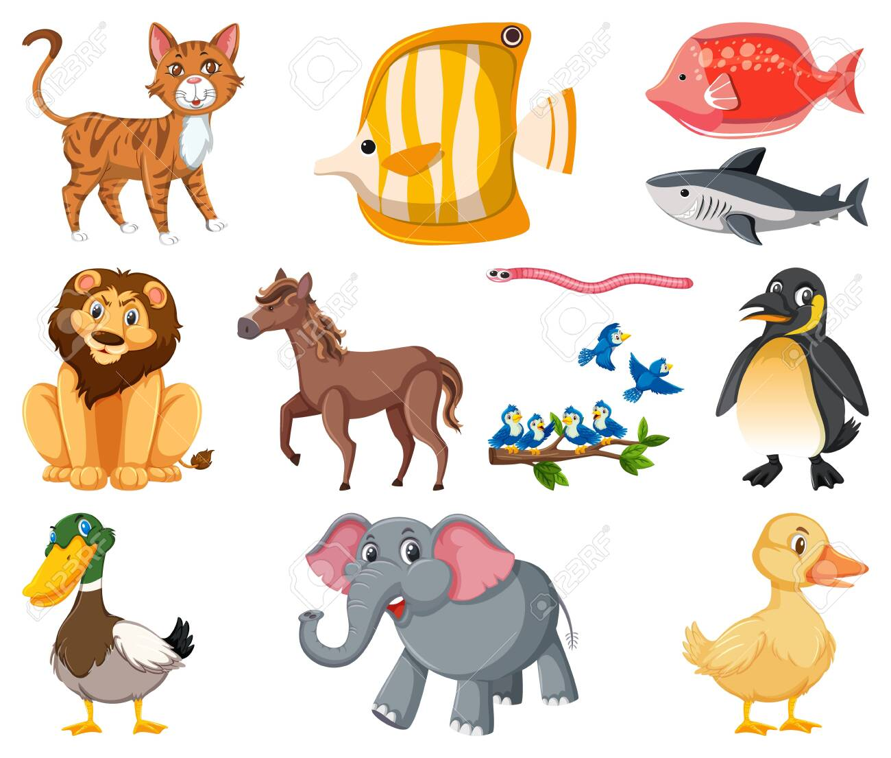 Large set of different types of animals on white background illustration - 143061617
