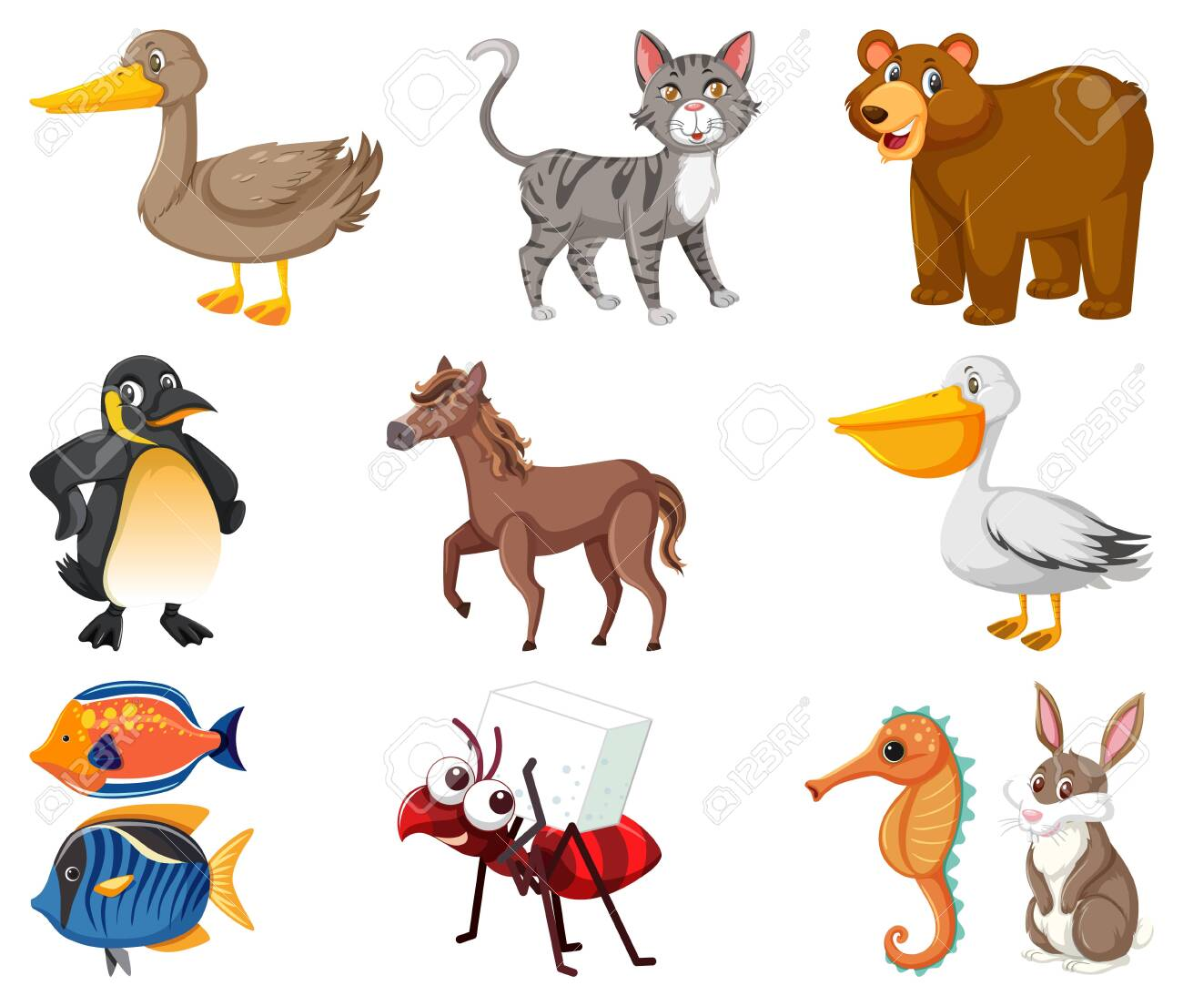 Large set of different types of animals on white background illustration - 143061637