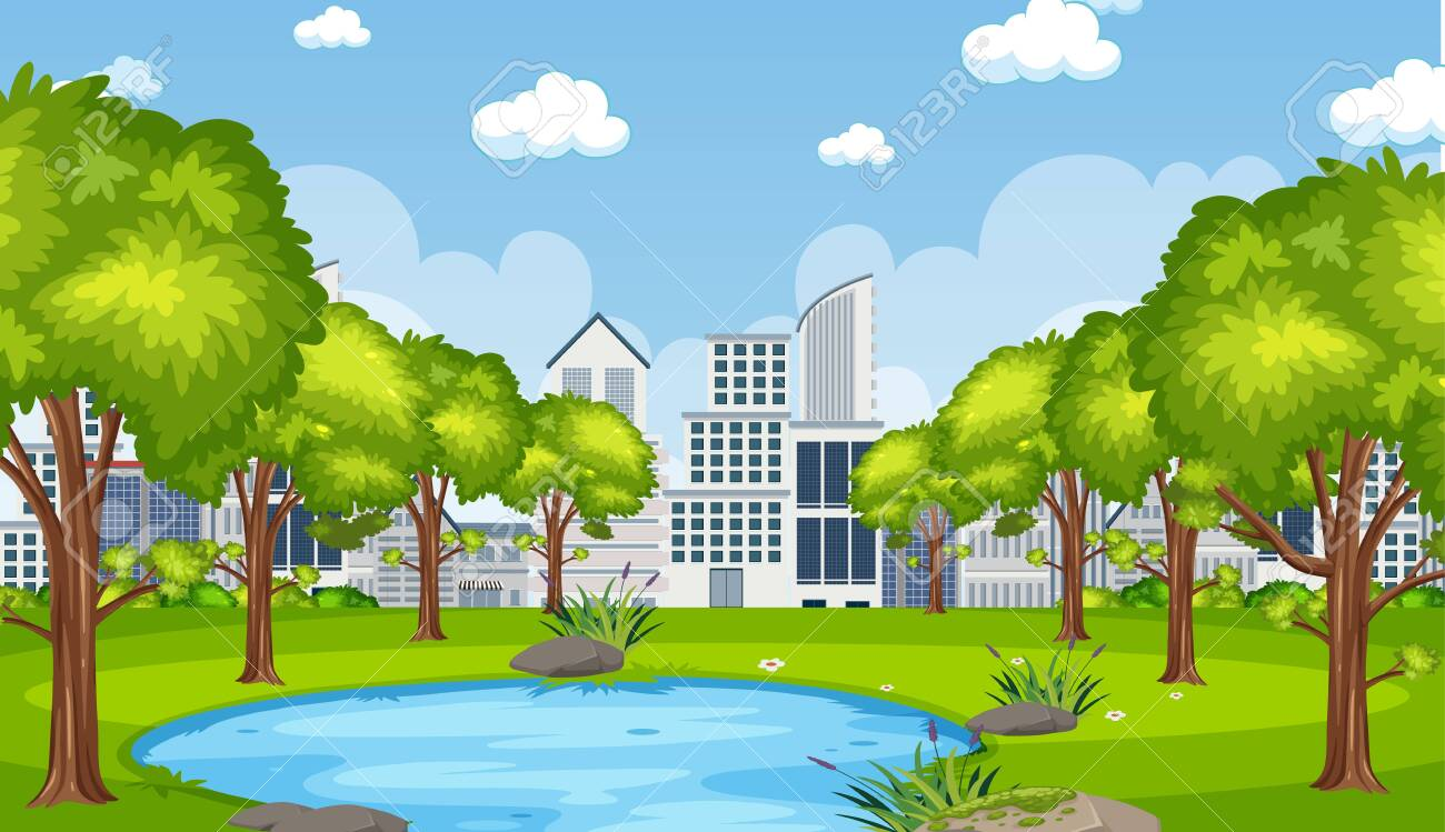 Background scene with city builsing and pond in the park illustration - 145375125