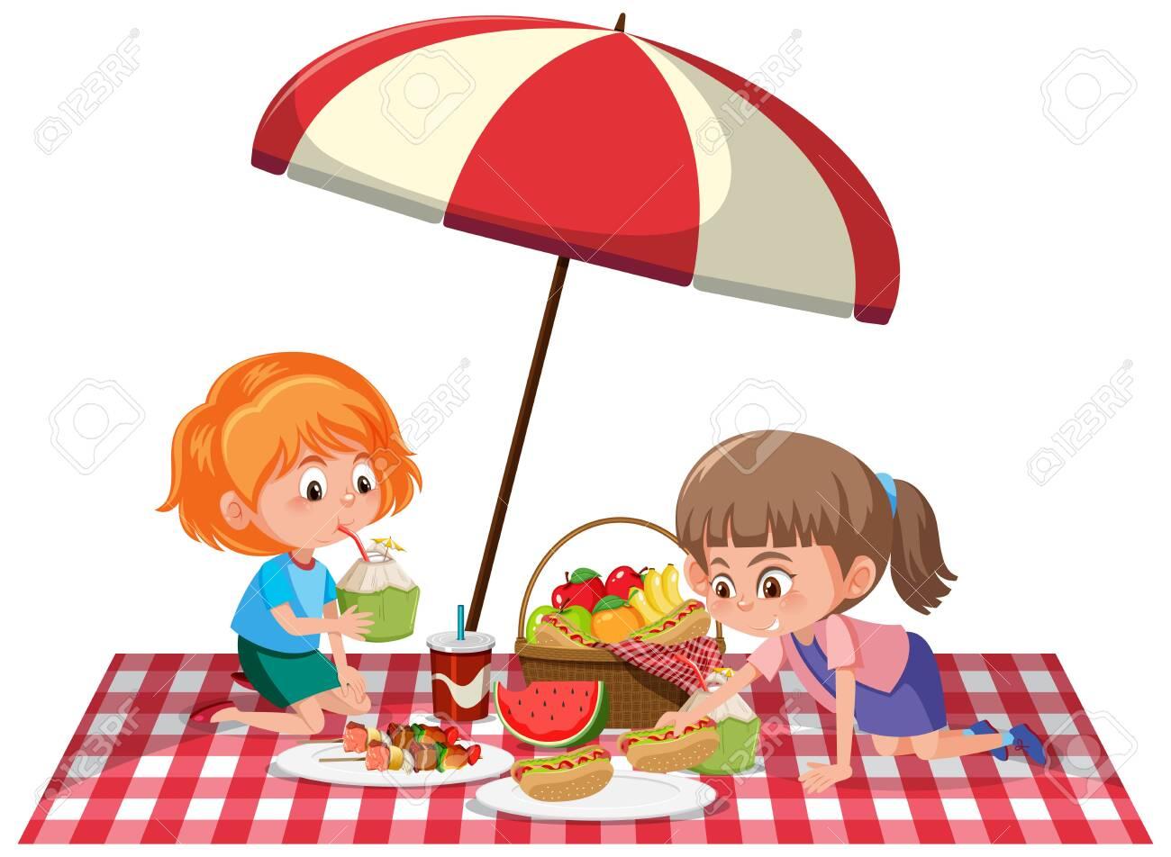Two girls having picnic on white background illustration - 146498115