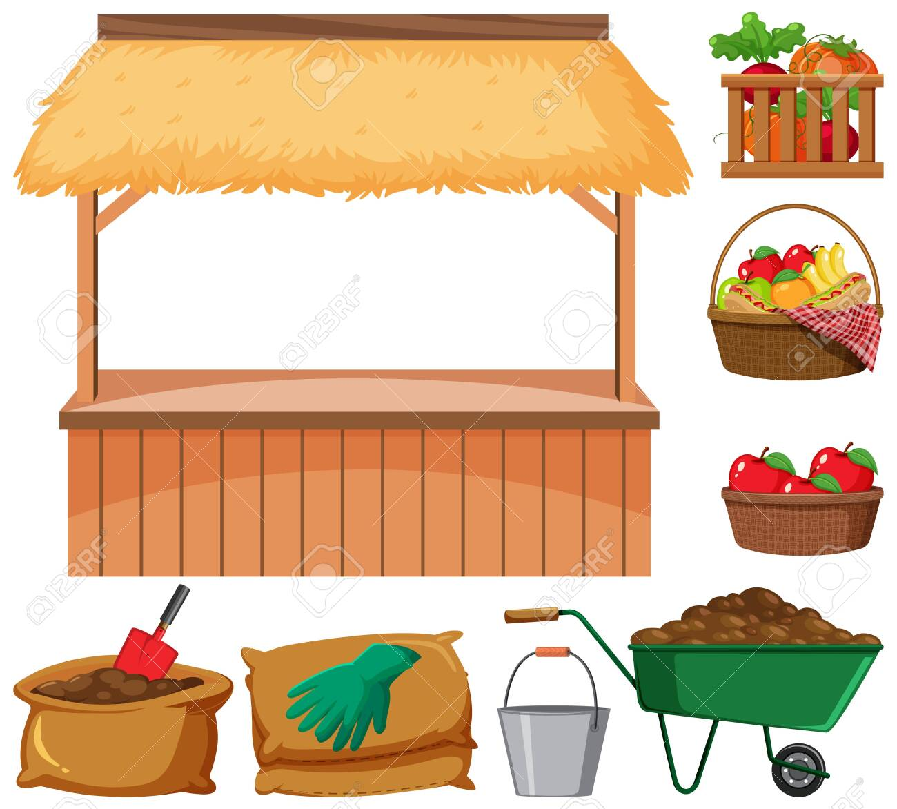 Food vendor and many farming items on white background illustration - 146618033