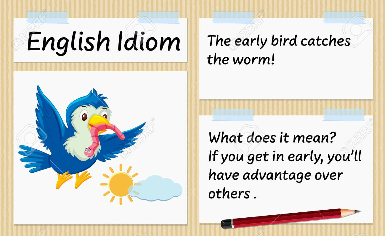 English idiom the early bird catches the worm template illustration - 153805413