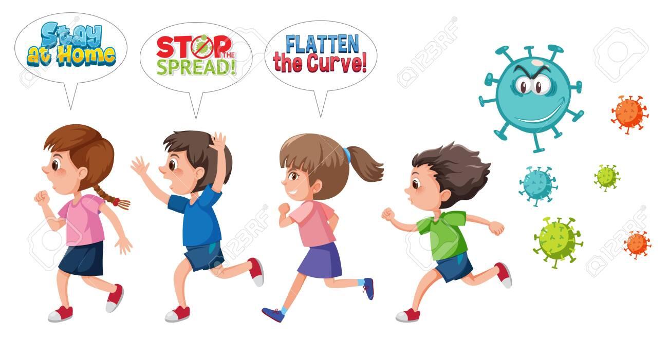 Children run away from coronavirus illustration - 153859464