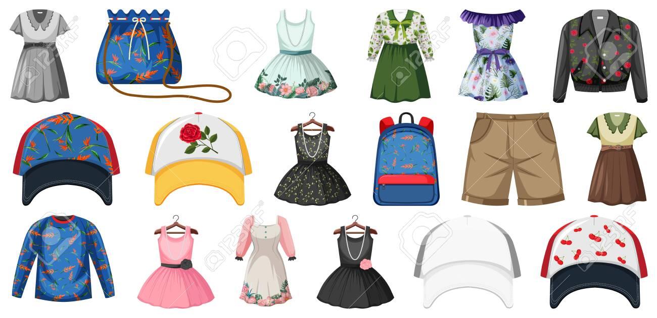 Set of fashion outfits illustration - 153903161