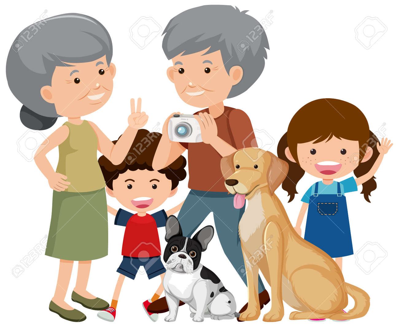 Family members with their pet dog on white background illustration - 159924564