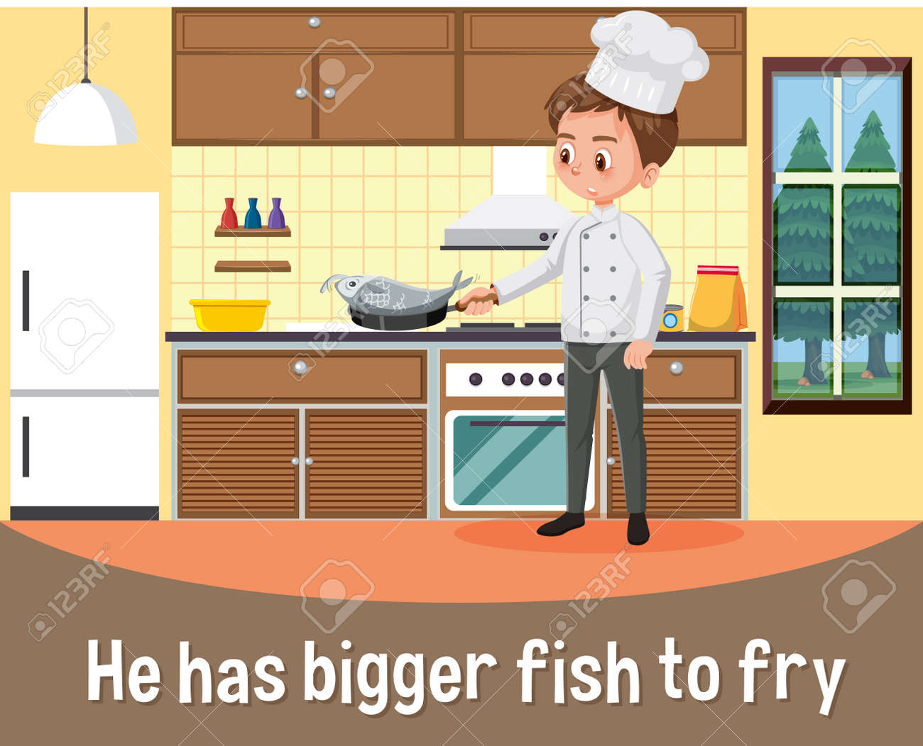 English idiom with picture description for he has bigger fish to fry illustration - 164240817