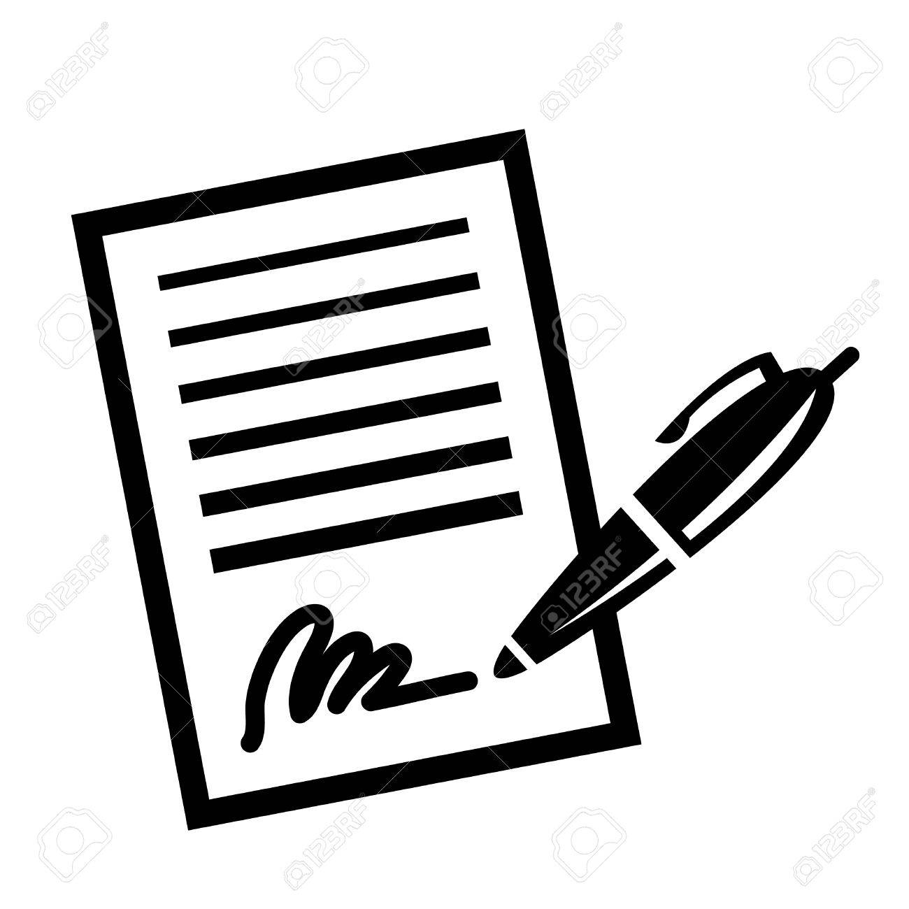 paper contract pen signature vector icon royalty free cliparts