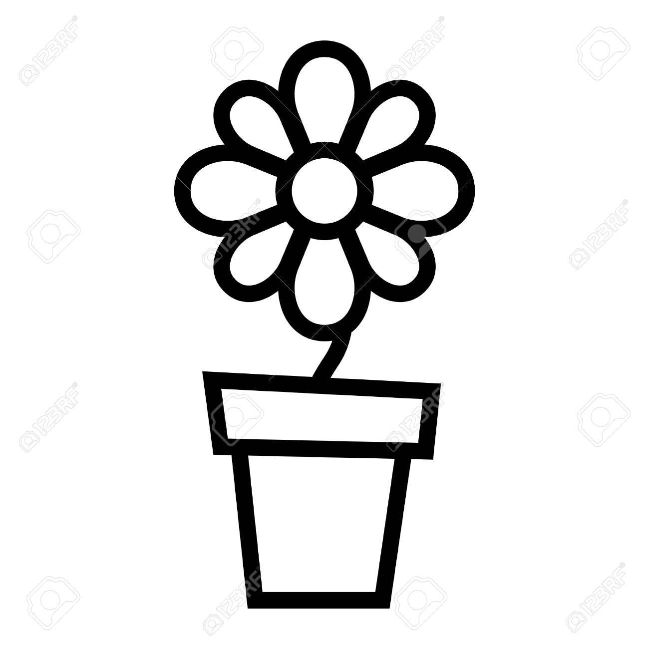 Flower Pot Vector Icon Royalty Free Cliparts Vectors And Stock