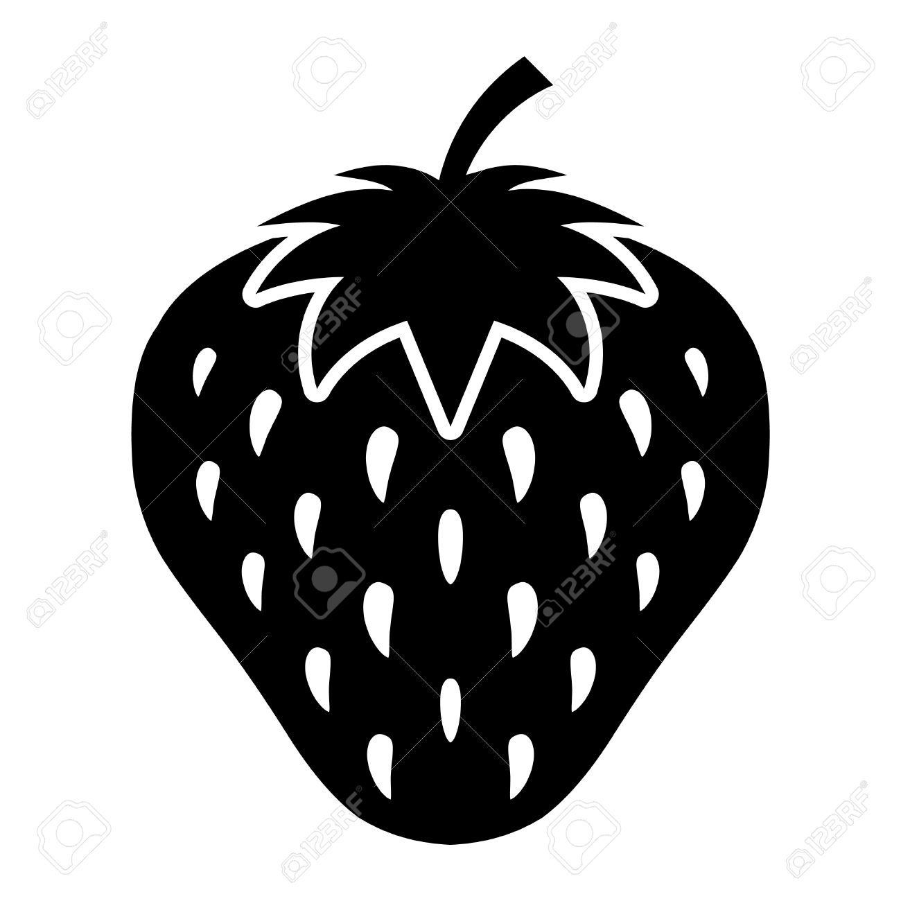 Strawberry Vector Icon Royalty Free Cliparts, Vectors, And Stock ... for Clipart Strawberry Black And White  557ylc