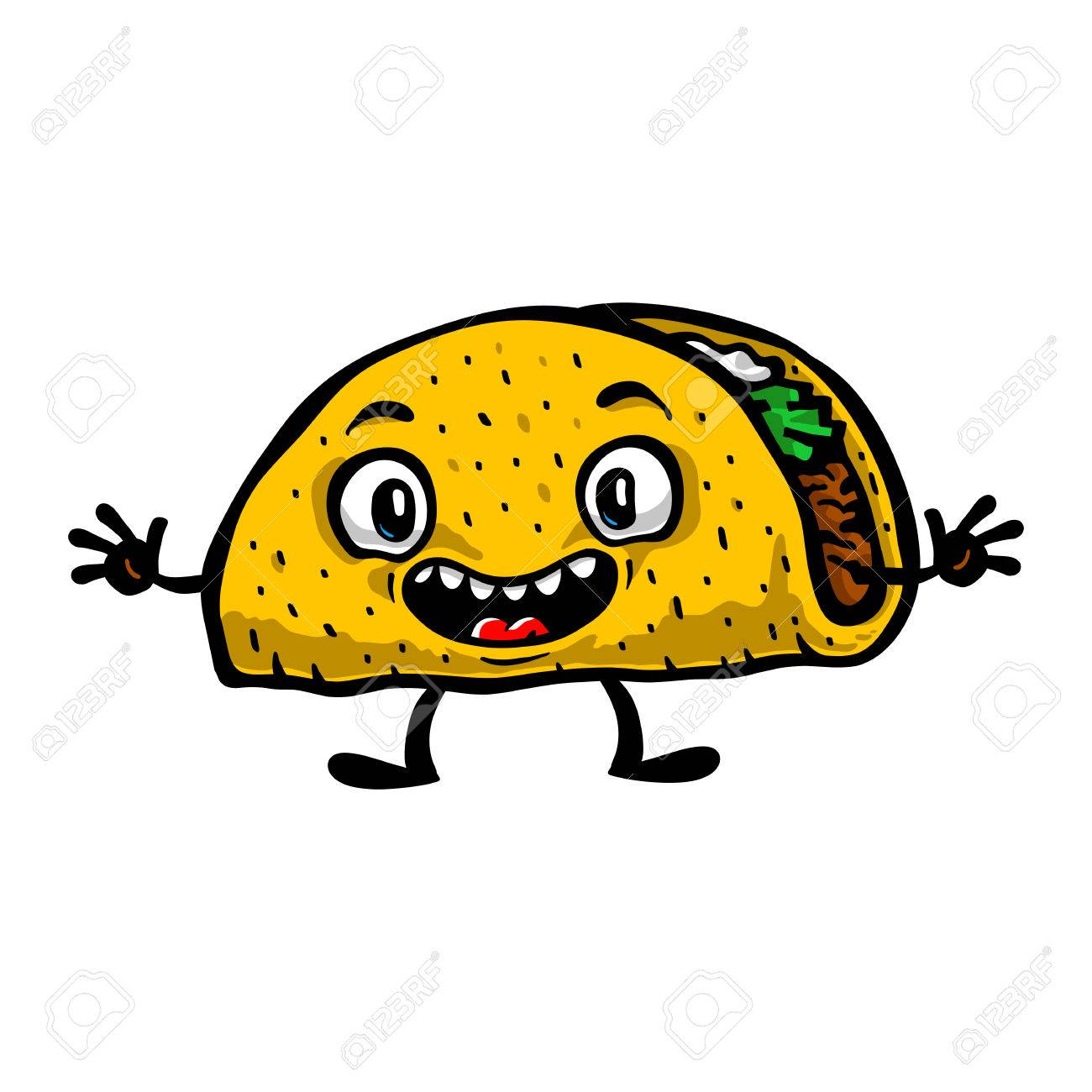 cute funny cartoon taco vector illustration royalty free cliparts
