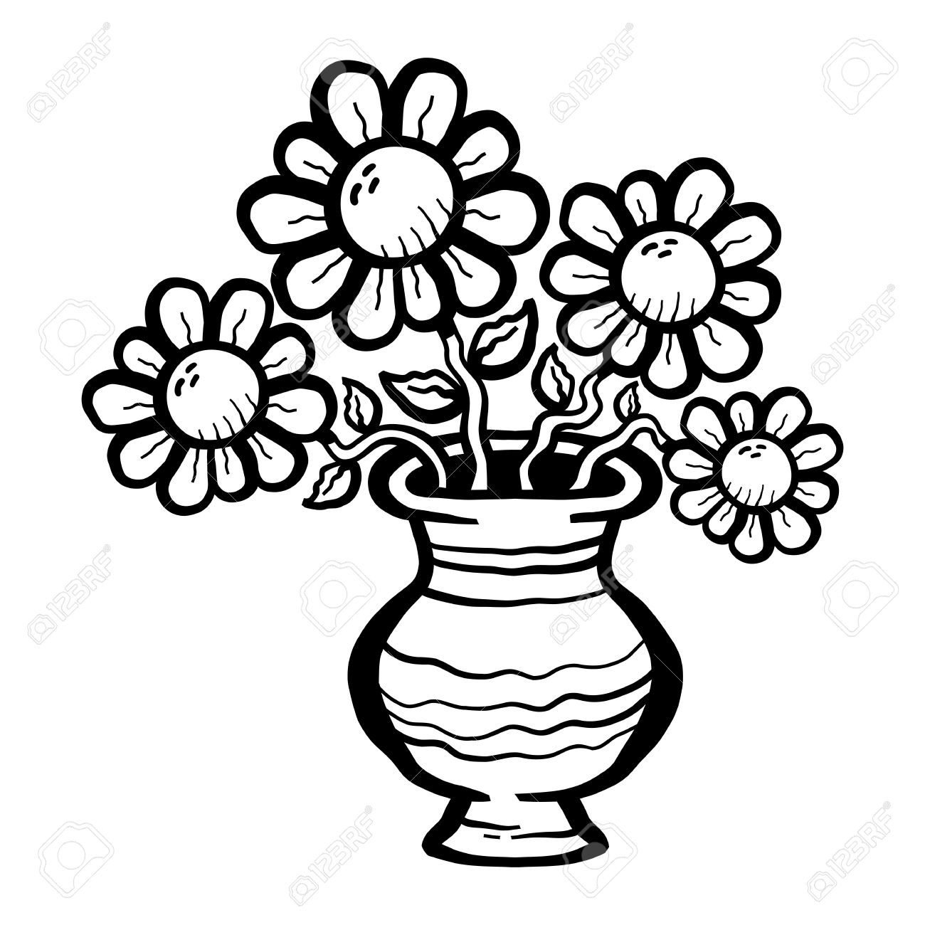 Cartoon Flowers In Vase Stock Vector
