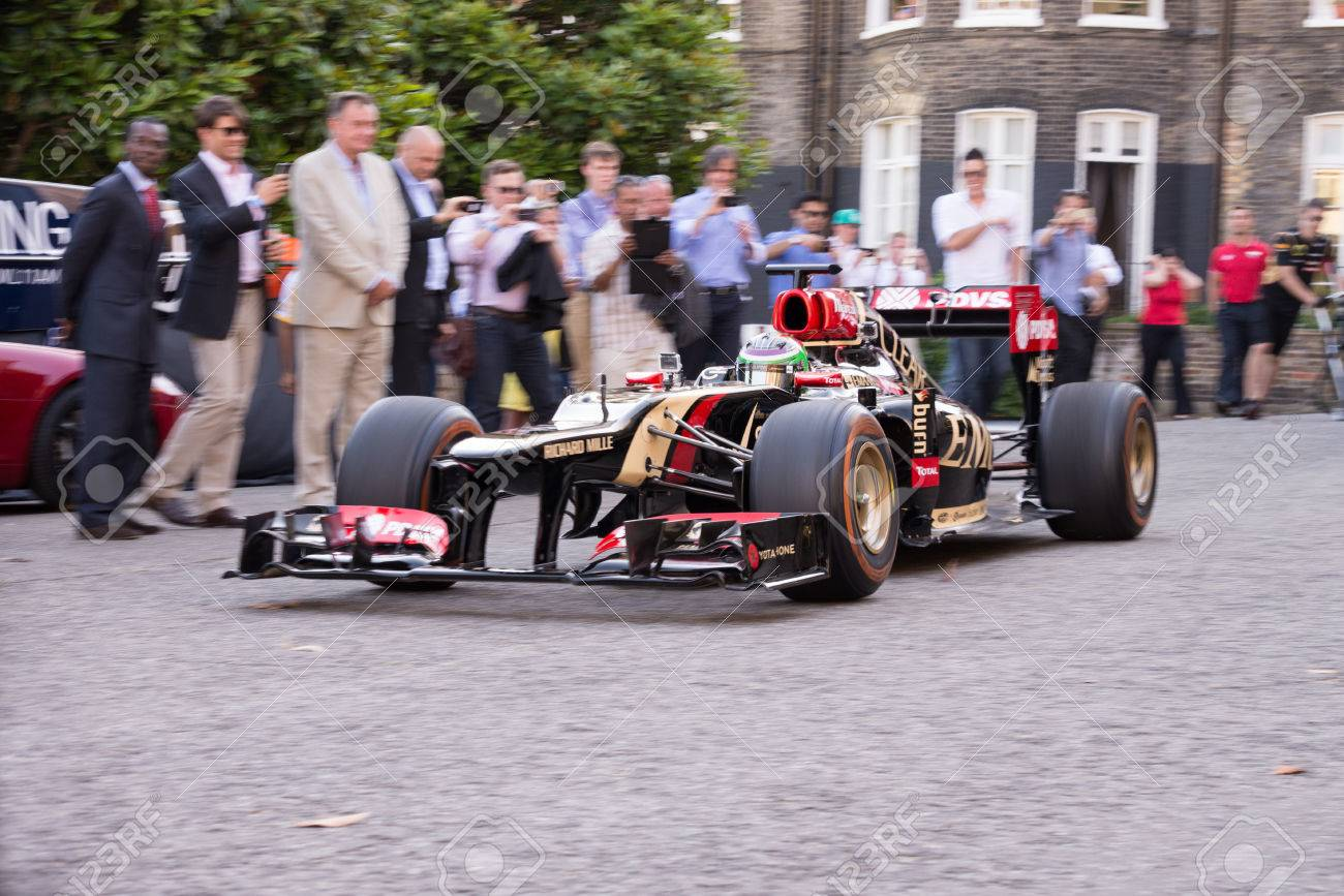 London, UK - July 3, 2014: Lotus Formula 1 Car Rolls Into Royal ...