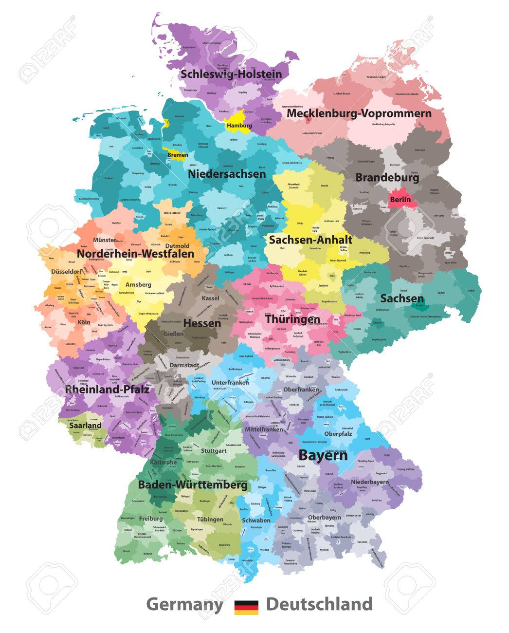 Germany Map Colored By States And Administrative Districts
