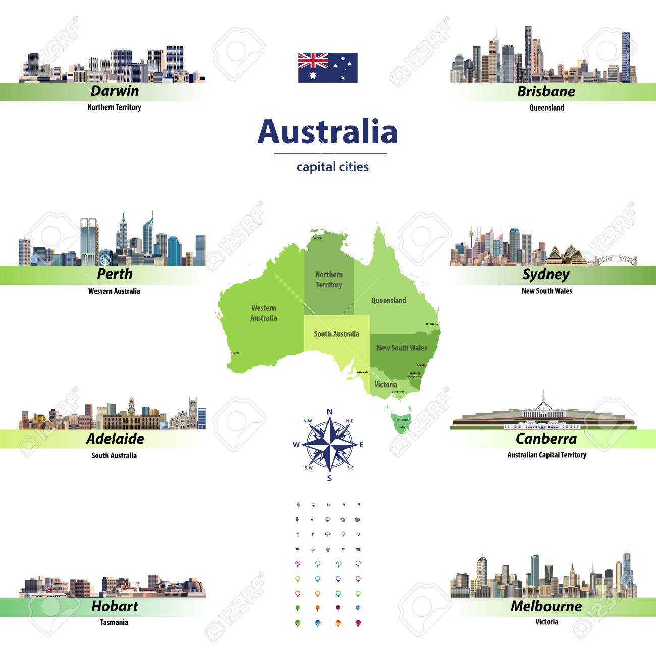 Map Of Australia Showing Capital Cities.Vector Illustration Of Australia State Map With Skylines Of Capital