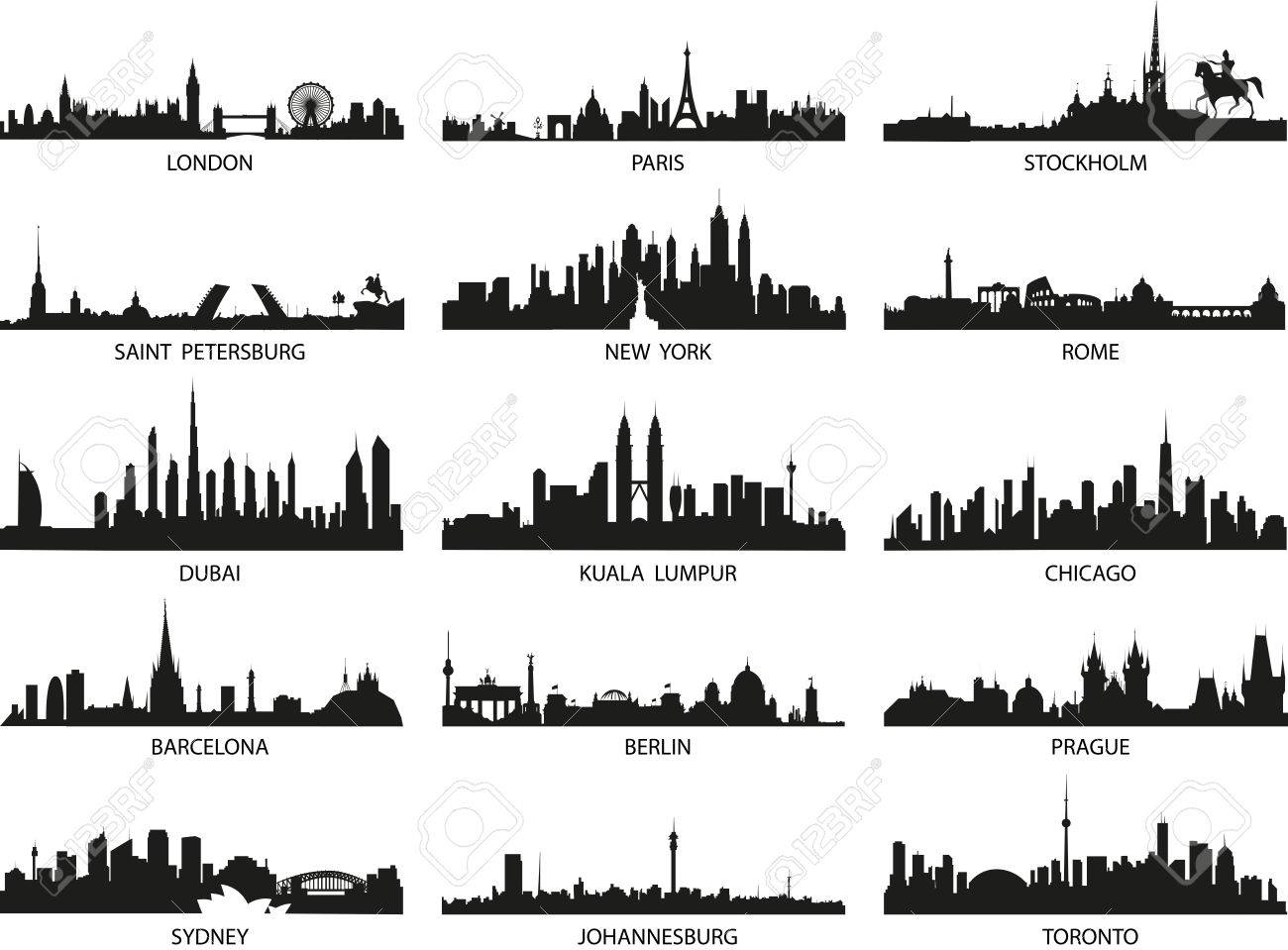 Vector Silhouettes Of The City Skylines Royalty Free Cliparts Vectors And Stock Illustration Image 83883594