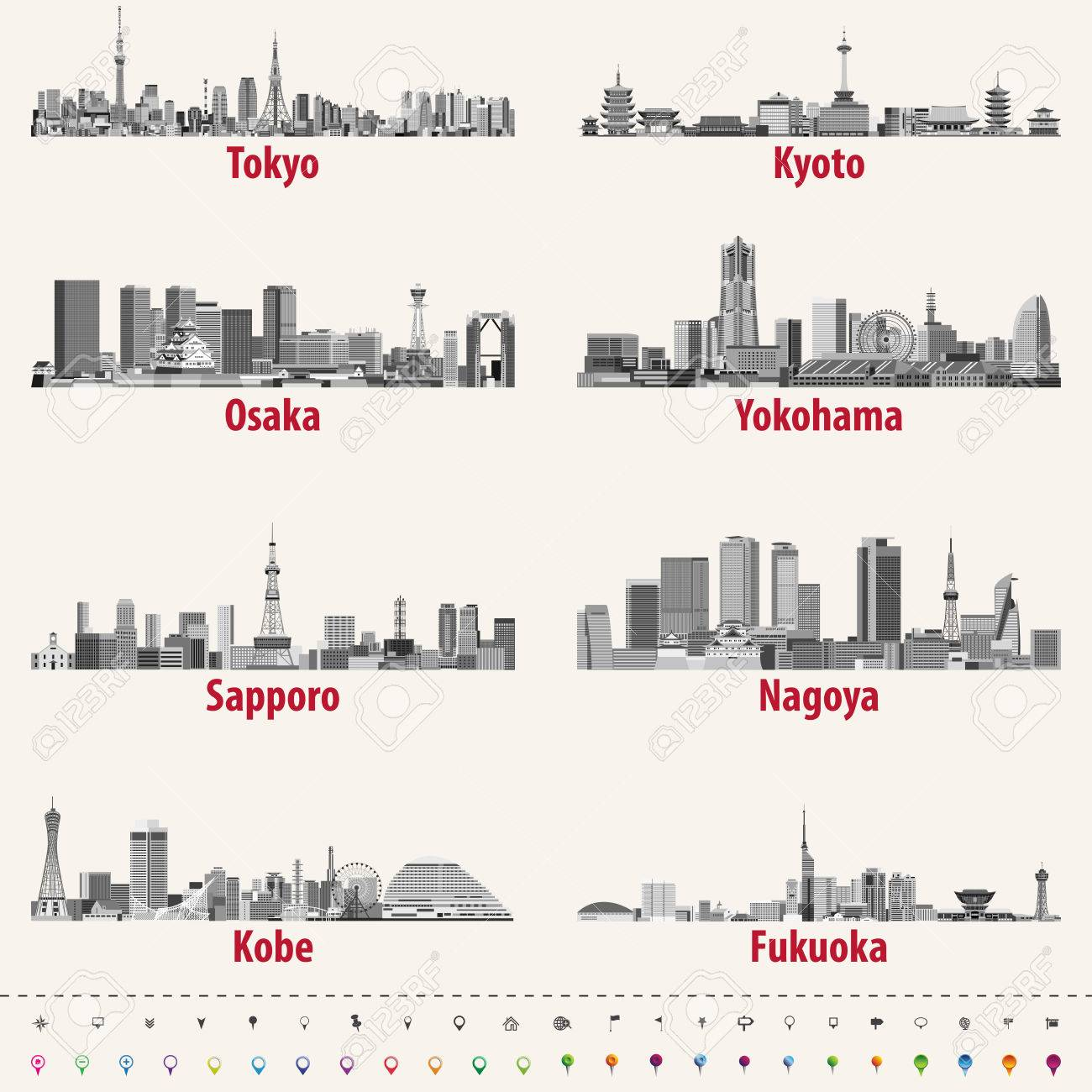 Abstract vector illustration of japanese city skylines - 83882961
