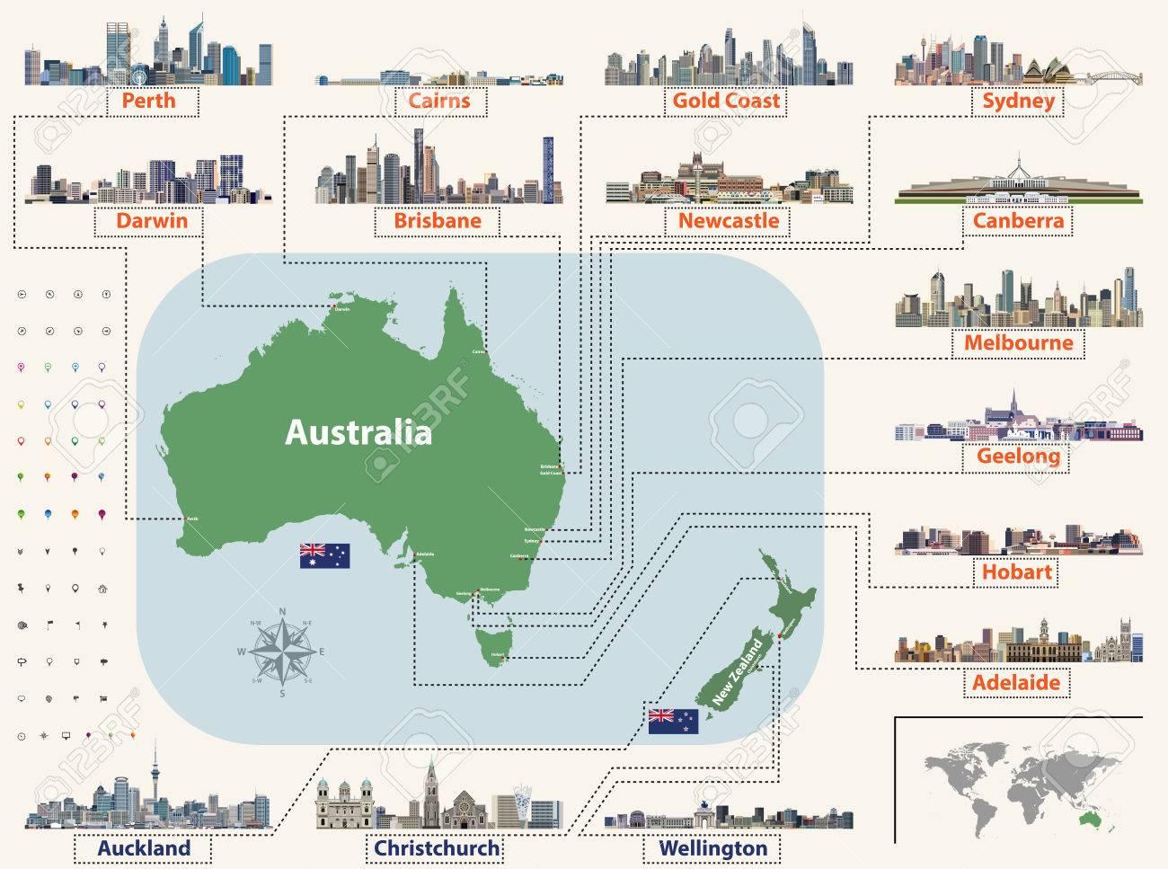 Carte Australie Grande Ville.Carte Vectorielle Et Drapeaux De L Australie Et De La Nouvelle