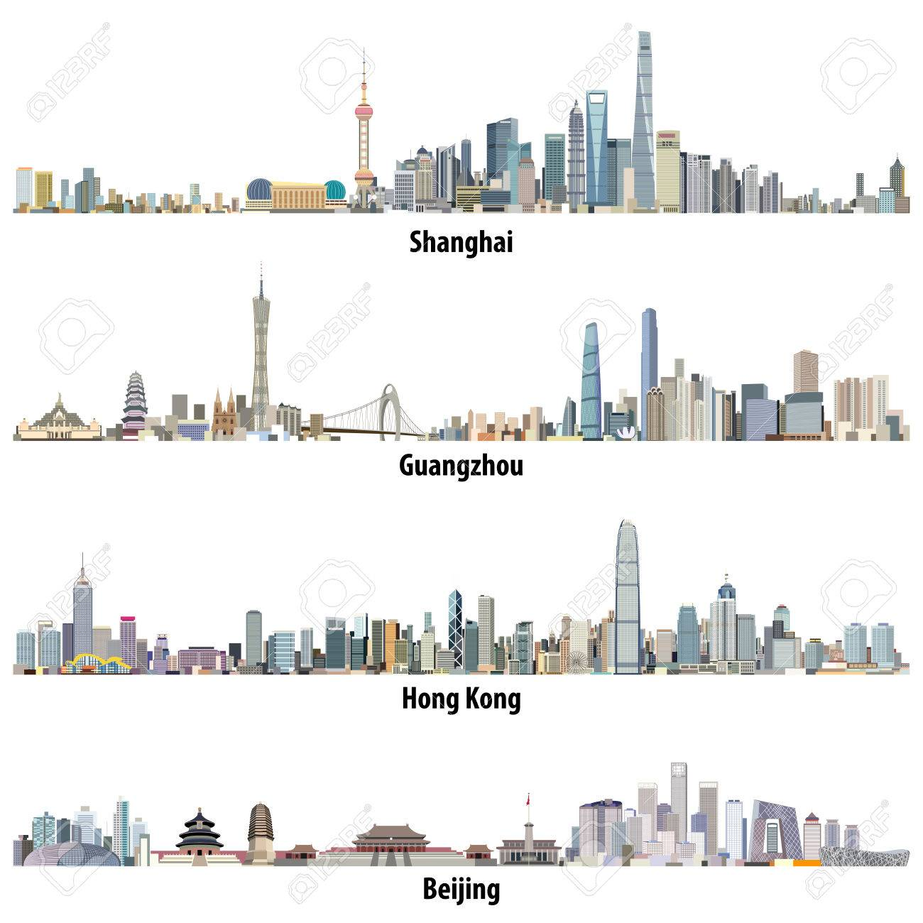 Abstract illustrations of Shanghai, Hong Kong, Guangzhou and Beijing skylines - 83883664
