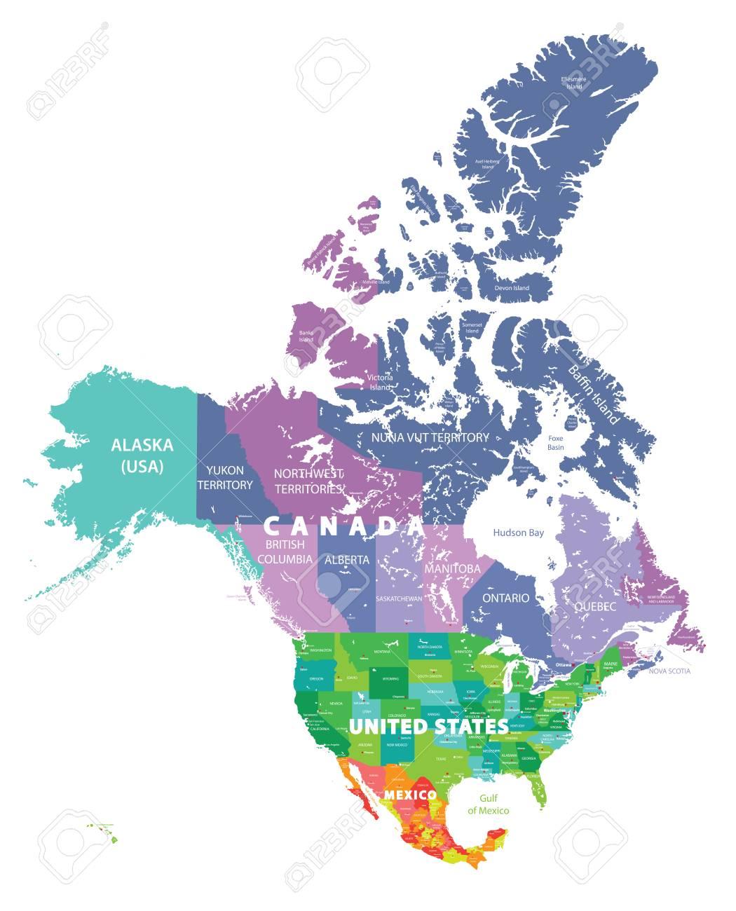 Carte Usa Canada Mexique.Carte Coloree Des Etats Unis Du Canada Et Du Mexique