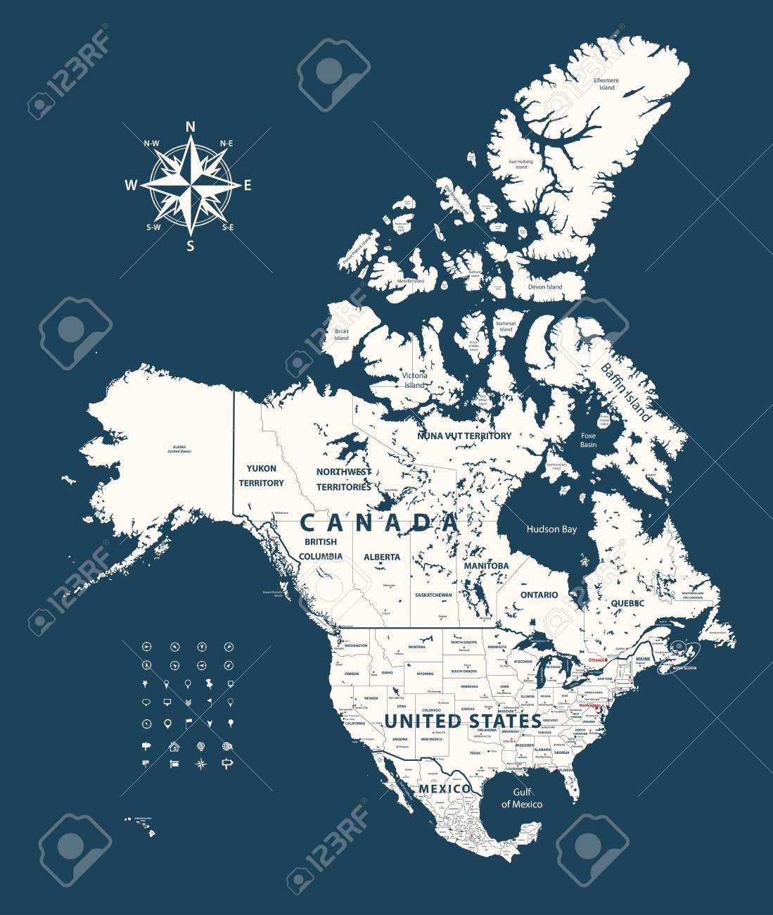 Canada, United States and Mexico vector map with states borders..