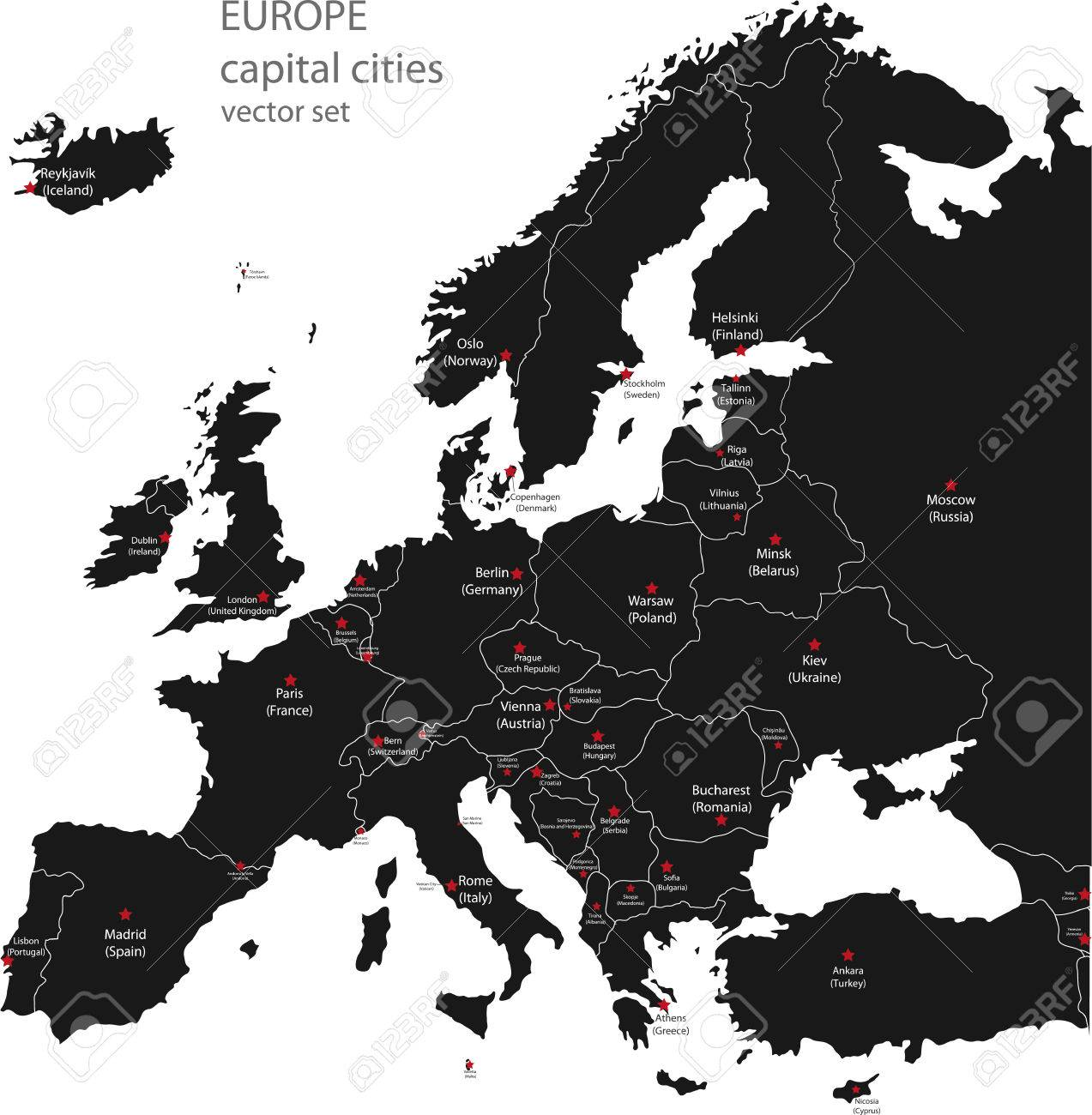 europe high detailed vector political map all elements separated in detachable and labeled layers stock