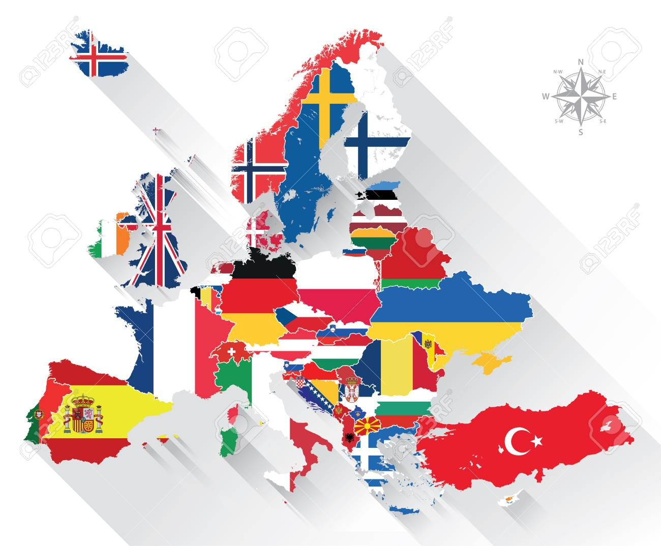 europe map combined with country flags all elements separated