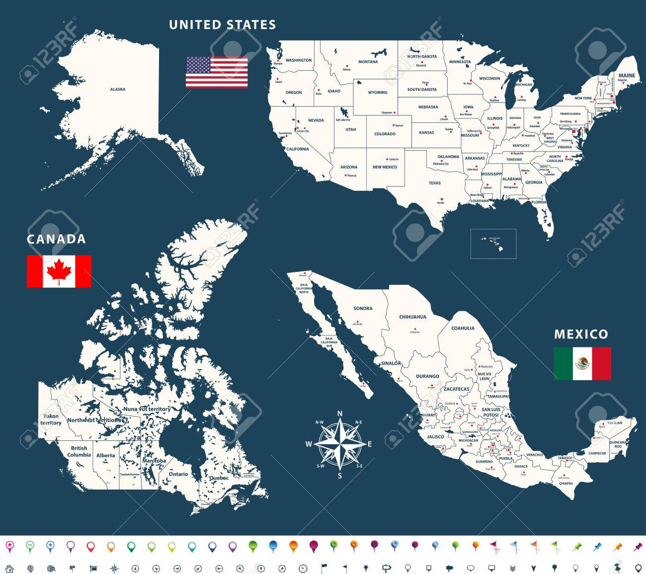Canada United States And Mexico Map.Maps Of Canada United States And Mexico With Flags And Location