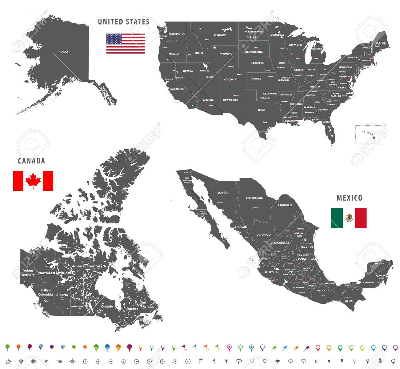 Maps of Canada, United States and Mexico with flags and location..