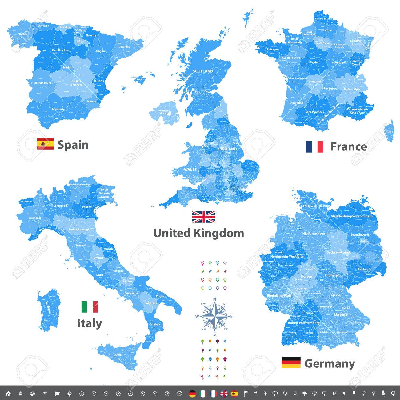 Vector Maps Of United Kingdom Italy Germany France And Spain