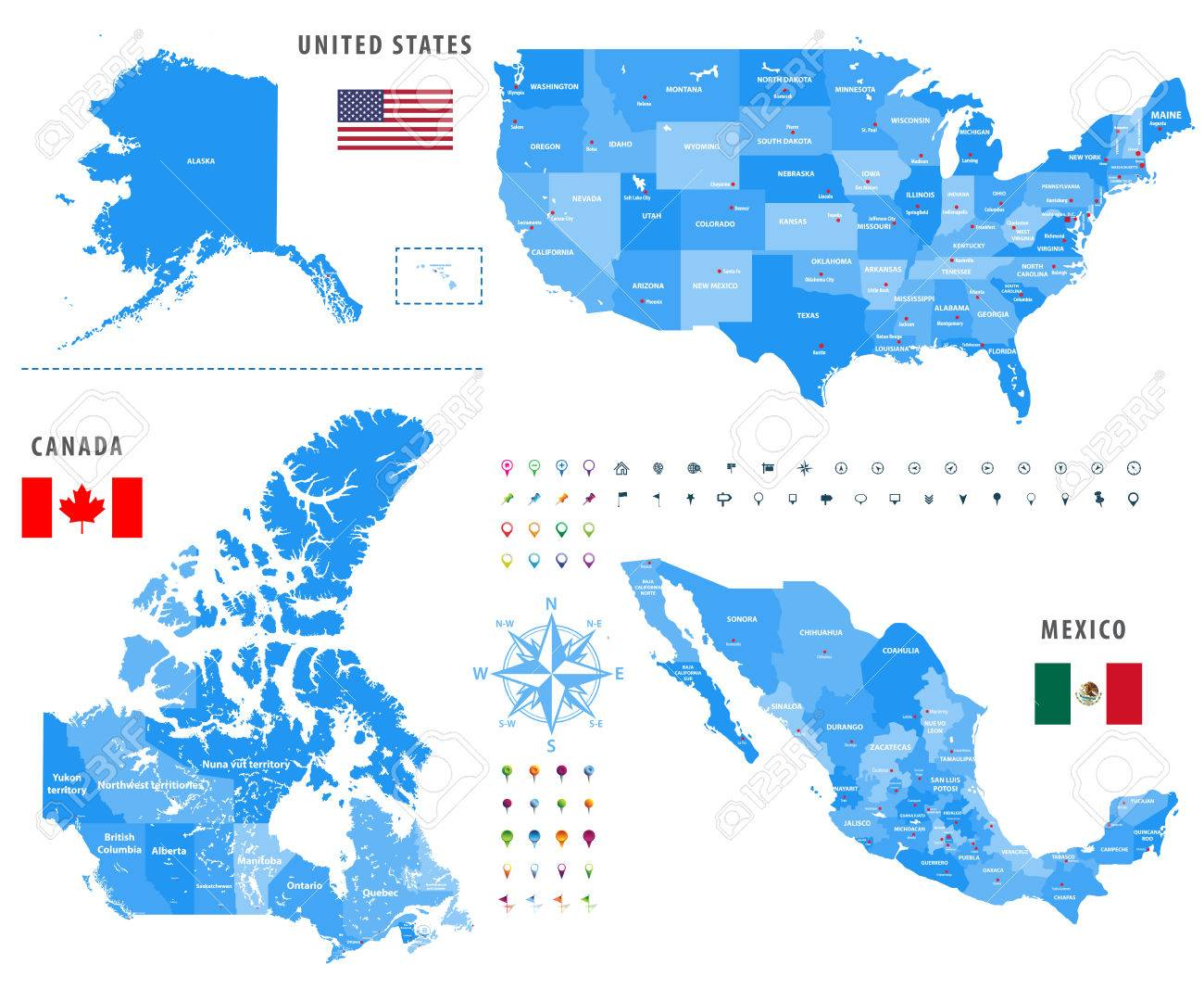 Maps Of Canada, United States And Mexico With Flags And Location ...