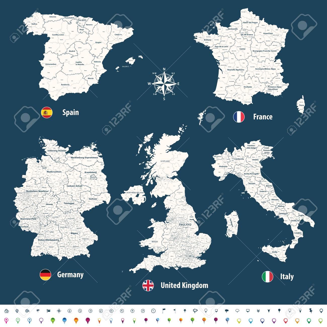 Vektor Karten Von Grossbritannien Italien Deutschland Frankreich