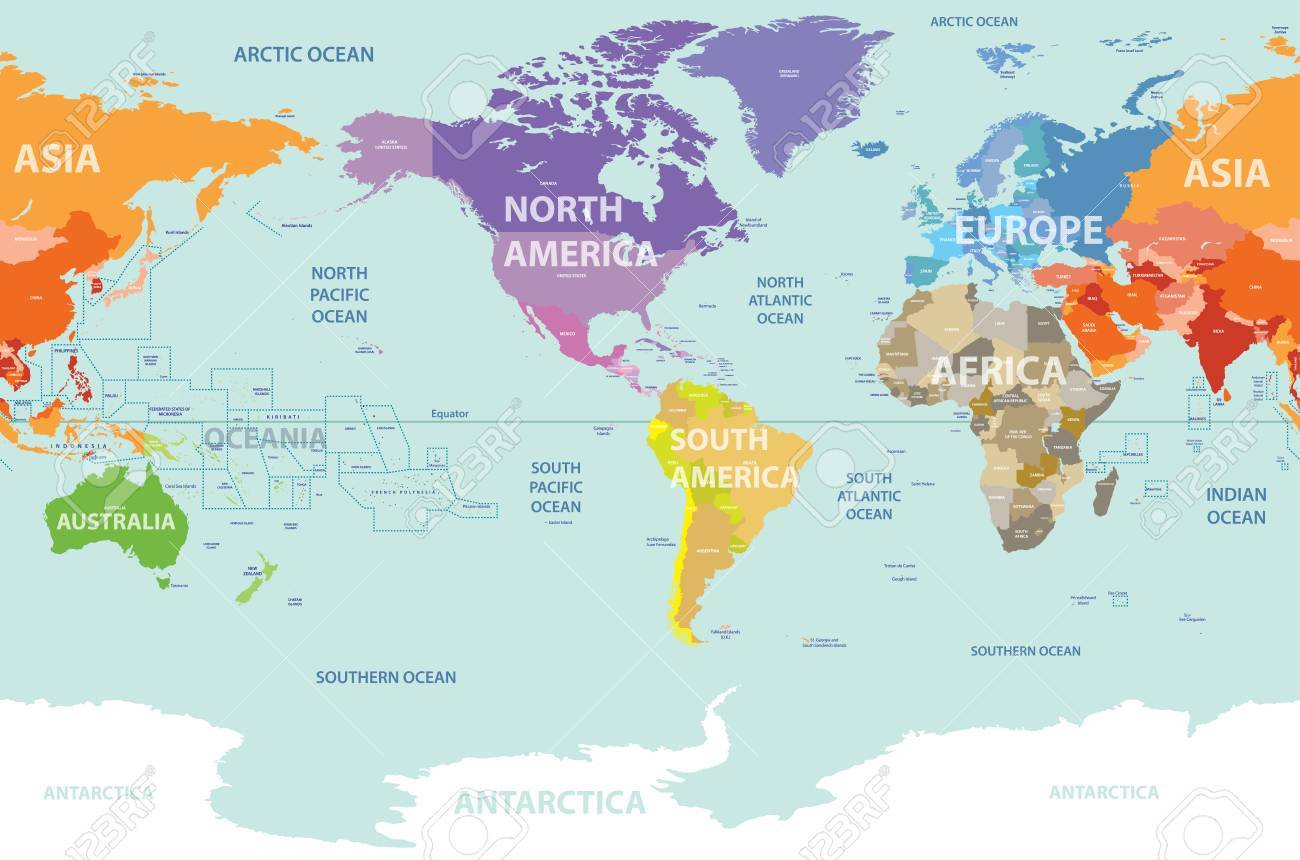 World Political Map Colored By Continents And Centered By America ...