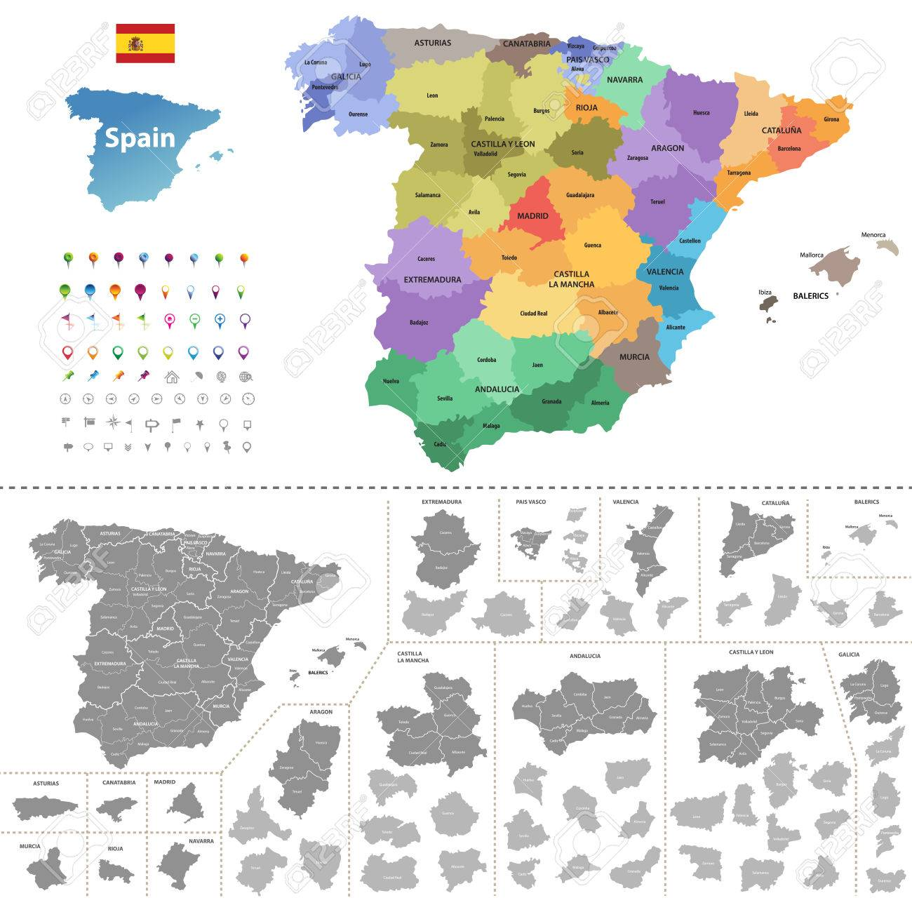 Spain Map colored By Autonomous Communities With Administrative