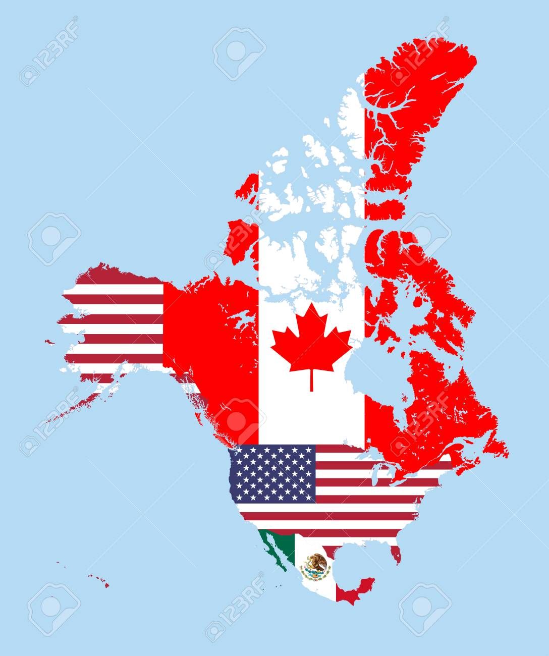 canada united states and mexico map combined with flags stock vector 84212821