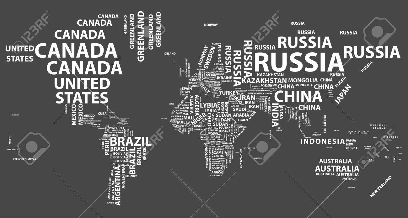 Vector World Map With Country Names In Typography Royalty Free