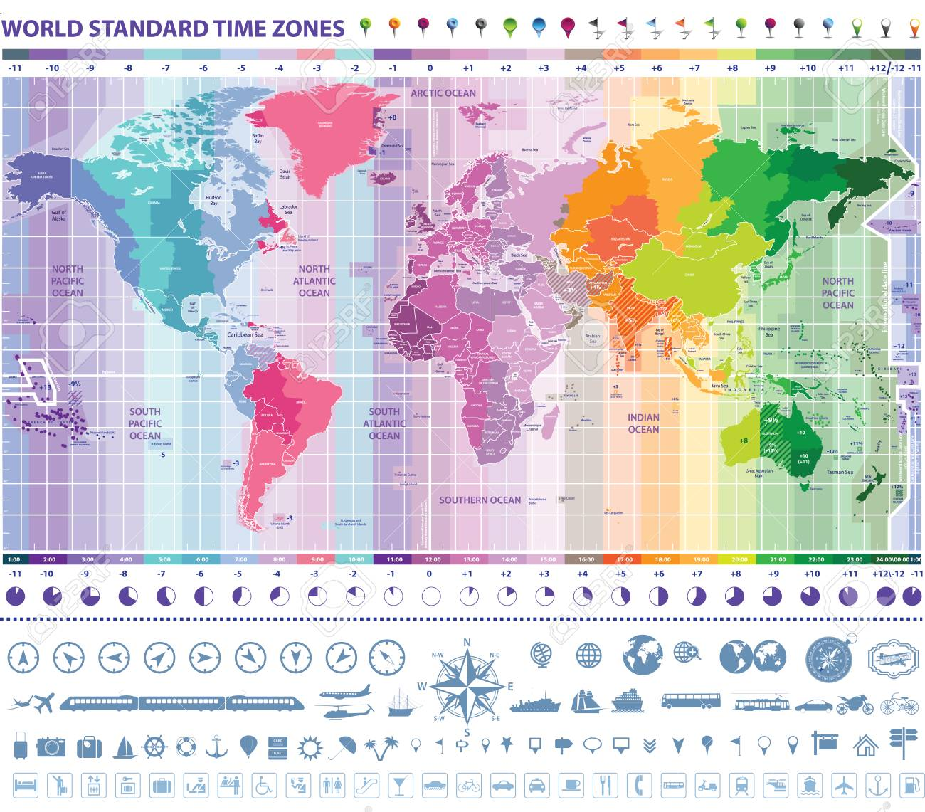World Standard Time Zones Map With Clocks Navigation And Travel